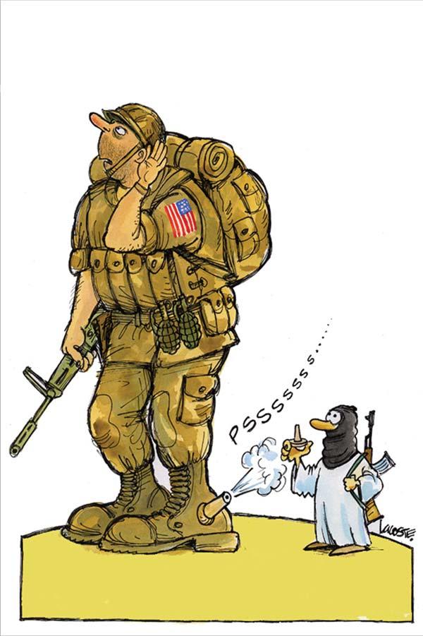 کاریکاتور افول غرب و امریکا