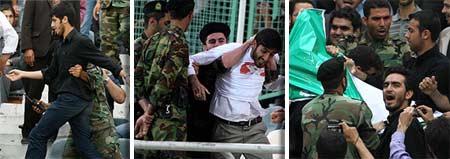برخورد نیروی انتظامی با بسیجی ها در استادیوم آزادی