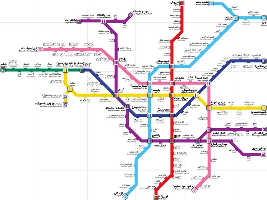 جدیدترین نقشه متروی تهران