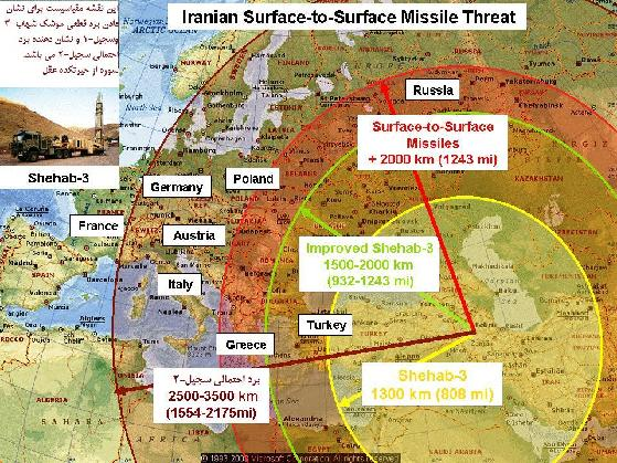این نقشه بیانگر برد شهاب-3 و برد احتمالی سجیل-1 میباشد.